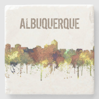 Albuquerque, NM Skyline - SG - Safari Buff Stone Coaster