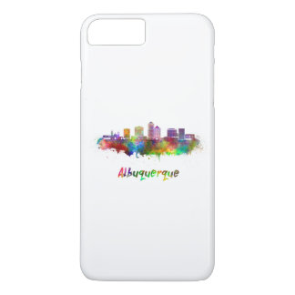 Albuquerque skyline in watercolor iPhone 7 plus case