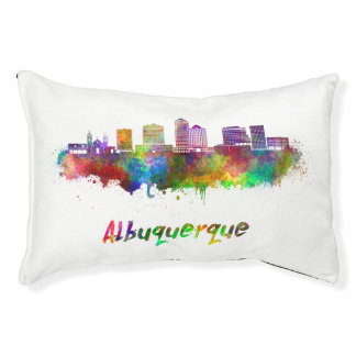 Albuquerque skyline in watercolor pet bed