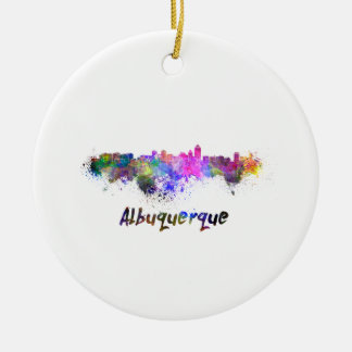Albuquerque skyline in watercolor round ceramic ornament