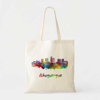 Albuquerque skyline in watercolor tote bag
