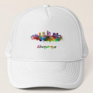 Albuquerque skyline in watercolor trucker hat