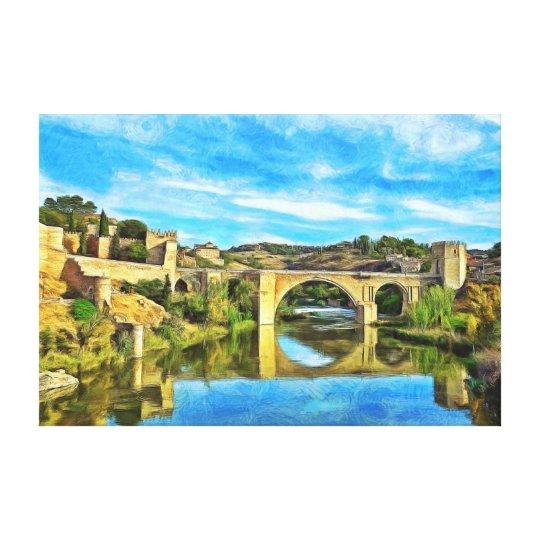 Alcantara Bridge in Toledo. Canvas Print