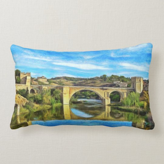 Alcantara Bridge in Toledo. Lumbar Pillow