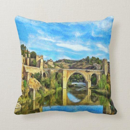 Alcantara Bridge in Toledo. Throw Pillow