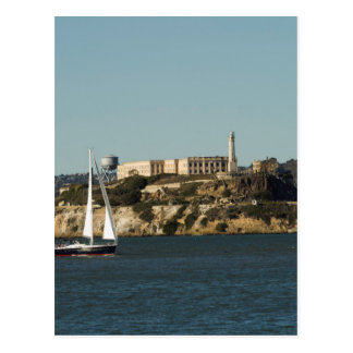 Alcatraz Island and a Lone Sailboat Postcard
