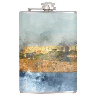 Alcatraz Island in San Francisco California Hip Flask