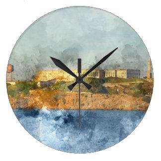 Alcatraz Island in San Francisco California Large Clock