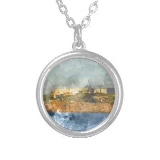 Alcatraz Island in San Francisco California Silver Plated Necklace