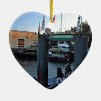 Alcatraz Landing Ceramic Heart Ornament