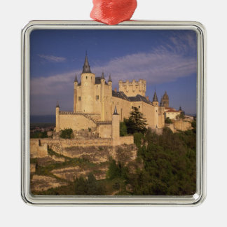 Alcazar and Cathedral, Segovia, Castile Leon, Silver-Colored Square Ornament