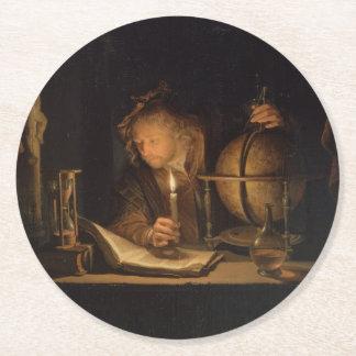 Alchemist Philosopher Reading Round Paper Coaster