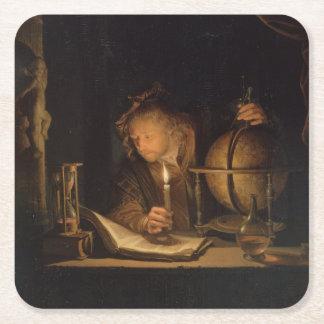 Alchemist Philosopher Reading Square Paper Coaster