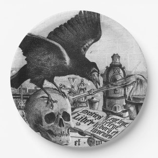 Alchemy Laboratory Raven and Human Skull 9 Inch Paper Plate