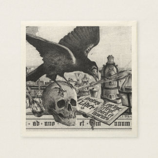 Alchemy Laboratory Raven and Human Skull Paper Napkin