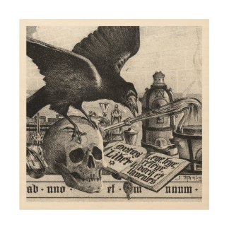 Alchemy Laboratory Raven and Human Skull Wood Wall Decor