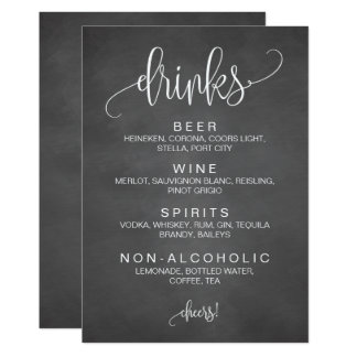 Alcohol Cocktail Drinks Bar Editable Wedding Sign Card