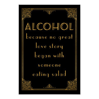 ALCOHOL drinks bar Gatbsy inspired wedding sign Poster