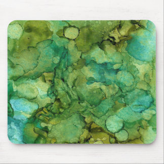 Alcohol Ink Painting in Shades of Blue and Green Mouse Pad