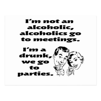 alcoholic party postcard