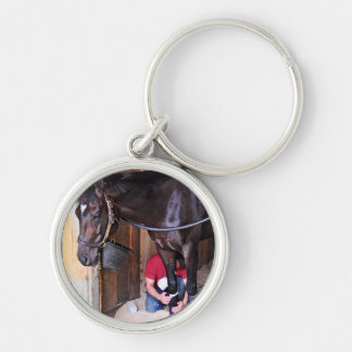 Alcolite- Horse Haven Barns at Saratoga Silver-Colored Round Keychain