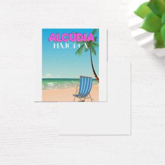 Alcúdia Majorca beach travel poster Square Business Card