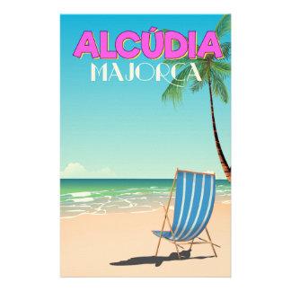 Alcúdia Majorca beach travel poster Stationery