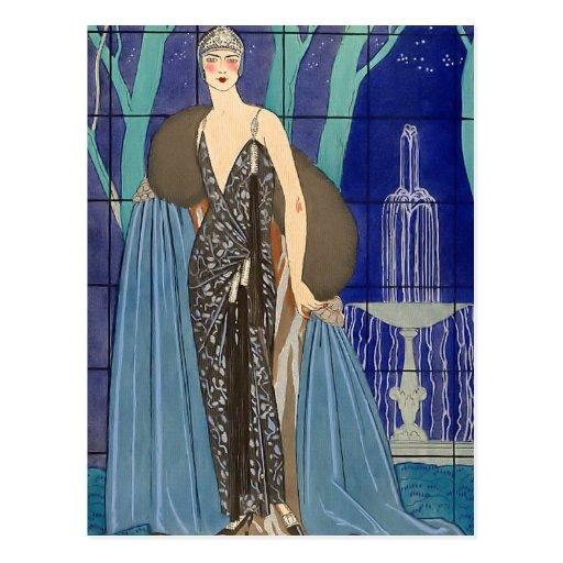 Alcyone Art Deco Pochoir Post Card