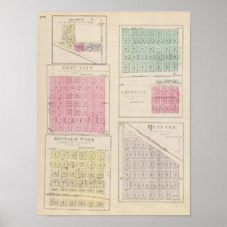 Alden, Gove City, Grinnell, Buffalo Park, Kansas Poster