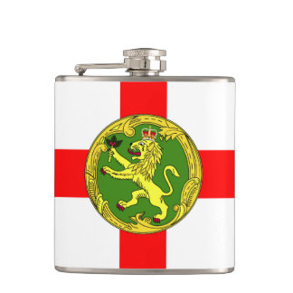 Alderney flag Guernsey symbol british Hip Flask