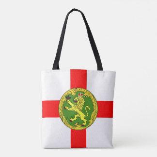 Alderney flag Guernsey symbol british Tote Bag