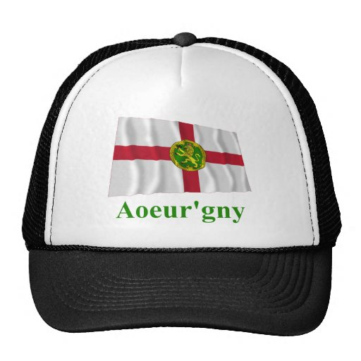 Alderney Waving Flag with Name in Auregnais Trucker Hats