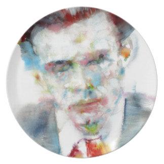 ALDOUS HUXLEY - watercolor portrait .4 Plate