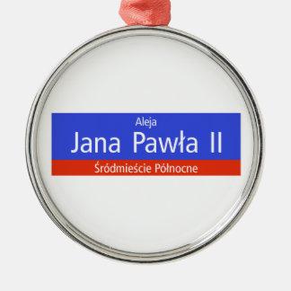 Aleja Jana Pawla II, Warsaw, Polish Street Sign Metal Ornament
