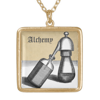 Alembic Flask and Receiver Gold Plated Necklace