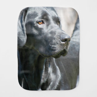 Alert Black Labrador Retriever Dog Burp Cloth