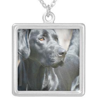 Alert Black Labrador Retriever Dog Silver Necklace
