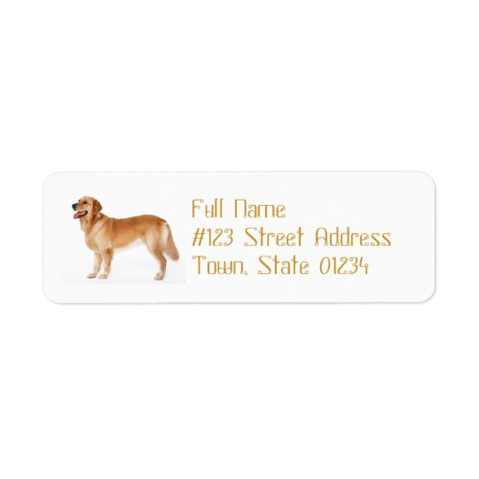Alert Golden Retriever Mailing Label Return Address Label