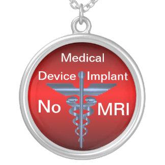 Alerte médicale -- Aucun implant médical d'IRM Pendentif Rond