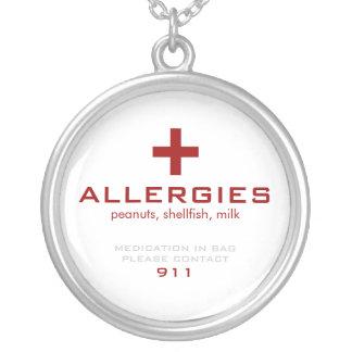Alerte médicale blanche, allergies pendentif rond