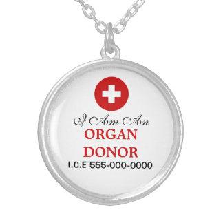 Alerte médicale du donateur d'organe | pendentif rond
