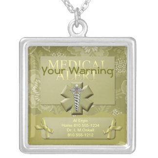 Alerte médicale personnalisée pendentif carré