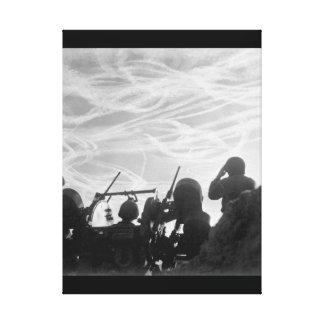 Alerted GIs of M-51 Anti-aircraft_War Image Canvas Print