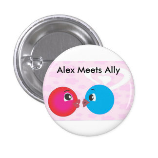 Alex And Ally Kissing.Alex Meets Ally Fun Photo. 1 Inch Round Button