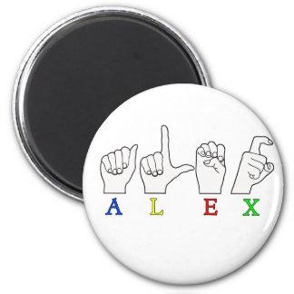 ALEX  FINGER SPELLED ASL NAME SIGN 2 INCH ROUND MAGNET