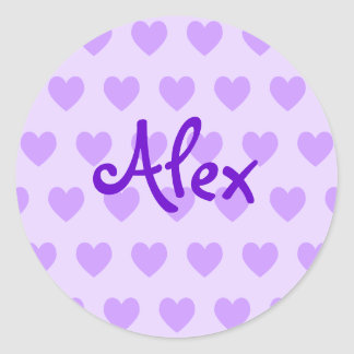 Alex in Purple Classic Round Sticker