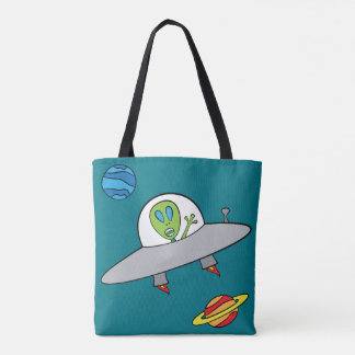 Alex the Alien - All-Over-Print Tote Turquoise