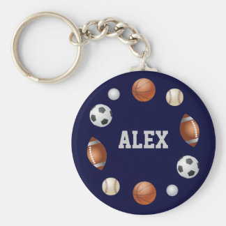 Alex World of Sports Name Keychain - Navy Blue