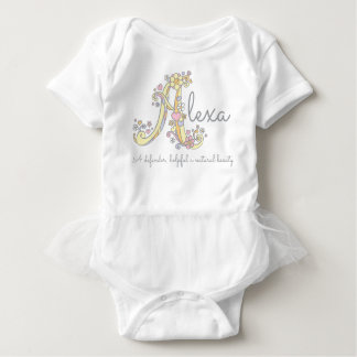 Alexa girls name meaning monogram hearts baby bodysuit