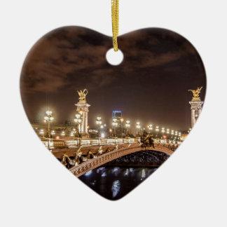 Alexander 3 bridge in Paris France at night Ceramic Ornament